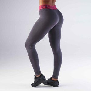 Gymshark Fit leggings grey pink wide band spellout